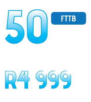 Lightspeed Fibre Broadband 50Mbps FTTB for only R4 999 per month. All inclusive.