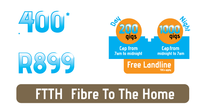 Lightspeed Fibre To The Home costs a fraction of ADSL at the same speed. R899 per month includes the line rental as well as uncapped data.